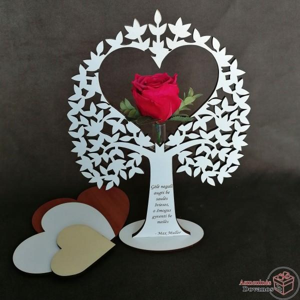 """Gėlės vazono dekoracija """"Rožinė širdis"""""""