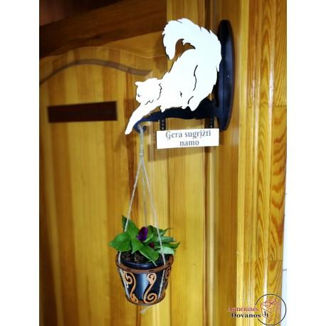 """Gėlės vazono dekoracija """"Katinuks"""""""