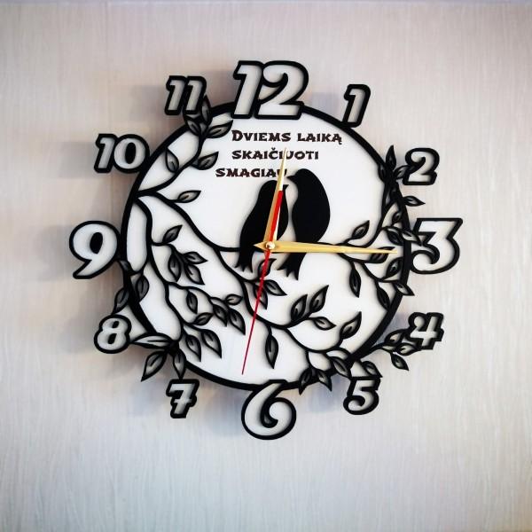"""Asmeninis sieninis laikrodis """"Du paukščiai"""""""