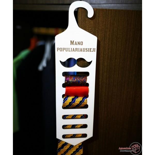 Kaklaraiščių kabykla su rišimo instrukcija