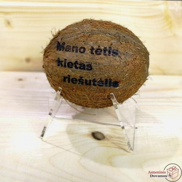 Graviruotas kokoso riešutas su stoveliu